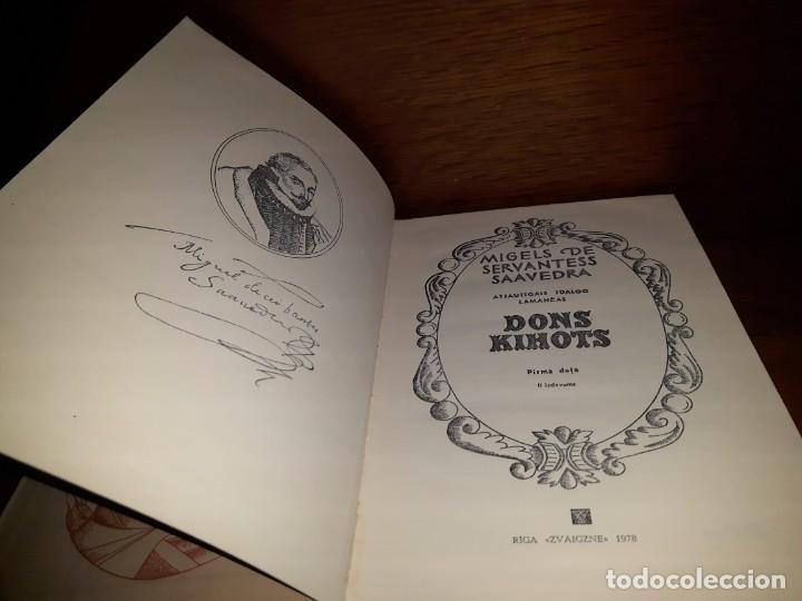 Libros: DON QUIJOTE en LETÓN. 2 TOMOS. 1978 TAPAS DURAS - Foto 3 - 189422786