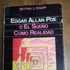 Libros: BETTINA L. KANAPP - EDGAR ALLAN POE O EL SUEÑO COMO REALIDAD. Lote 192255050