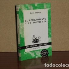Libros: EL PENSAMIENTO Y LO MOVIENTE - BERGSON, HENRI. Lote 194251736