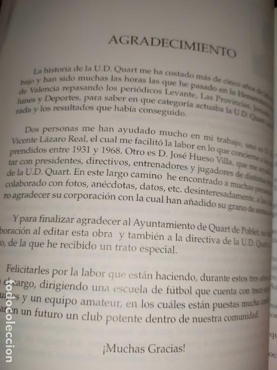 Libros: HISTORIA DE LA UNIÓN DEPORTIVA QUART MANUEL RUIZ RUIZ 1931 1999 - Foto 20 - 194905626