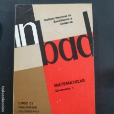 Libros: MATEMATICAS IMBAD DOCUMENTO 1. Lote 195317237