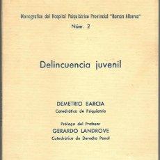 Libros: DELINCUENCIA JUVENIL (MONOGRAFÍAS DEL HOSPITAL PSIQUIÁTRICO PROVINCIAL RAMÓN ALBERCA, Nº2) - DEMETRI. Lote 195508442