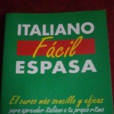 Libros: ITALIANO FÁCIL ESPASA. EDITORIAL ESPASA. AÑO 2002. Lote 231178405