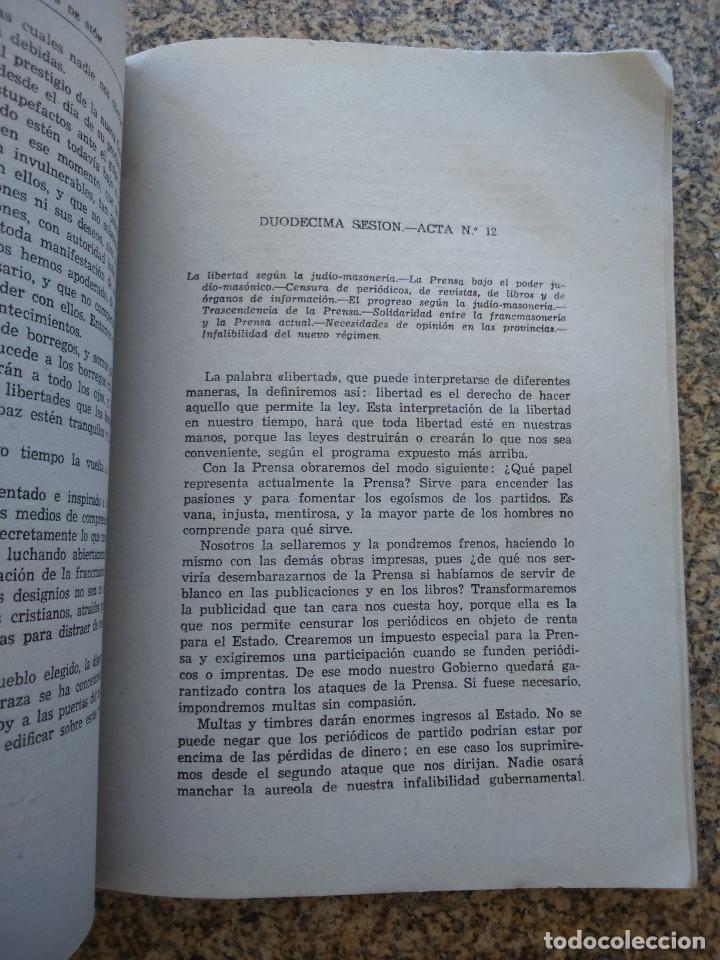 Libros: LOS PROTOCOLOS DE LOS SABIOS DE SION - LOS PELIGROS JUDIO-MASONICOS -- MADRID 1948 -- - Foto 2 - 210773929