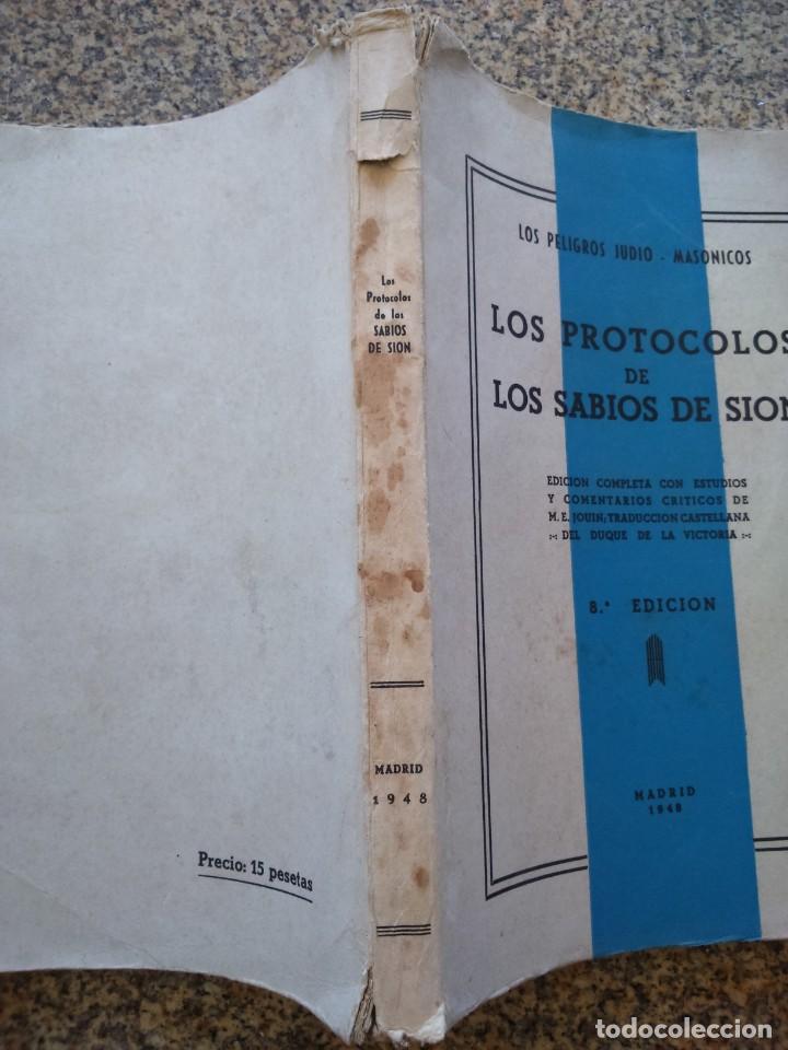 Libros: LOS PROTOCOLOS DE LOS SABIOS DE SION - LOS PELIGROS JUDIO-MASONICOS -- MADRID 1948 -- - Foto 3 - 210773929