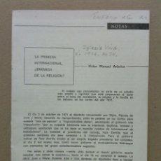 Libros: ARBELOA, VICTOR MANUEL - LA PRIMERA INTERNACIONAL, ¿ENEMIGA DE LA RELIGIÓN?. Lote 210849587