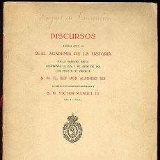 Libros: LAURENCIN,MARQÉS DE; S. M. EL REY DON ALFONSO XIII Y S. M. VICTOR MANUEL III - DISCURSOS LEÍDOS ANTE. Lote 210893972