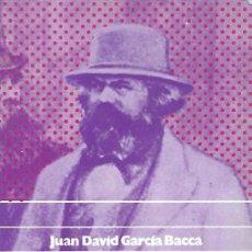 Libros: HUMANISMO TEORICO PRACTICO Y POSITIVO SEGUN MARX - JUAN DAVID GARCIA BACCA. Lote 181379841
