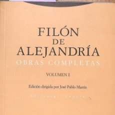 Livres: FILÓN DE ALEJANDRÍA OBRAS COMPLETAS VOLUMEN 1. Lote 217224585