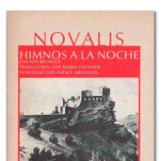Livres: NOVALIS. HIMNOS A LA NOCHE. Lote 217366882
