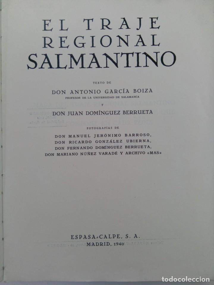 Libros: EL TRAJE REGIONAL SALMANTINO - D. ANTONIO GARCÍA Y D. JUAN DOMÍNGUEZ - ESPASA CALPE 1940 - Foto 2 - 218504381