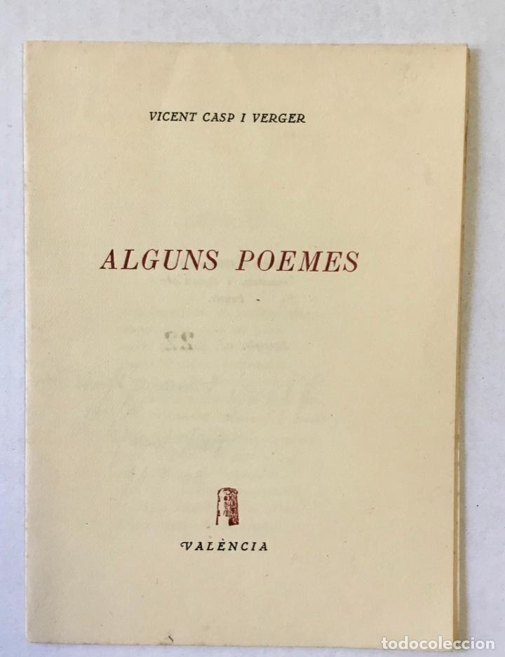 ALGUNS POEMES. - CASP I VERGER, VICENT. (Libros sin clasificar)