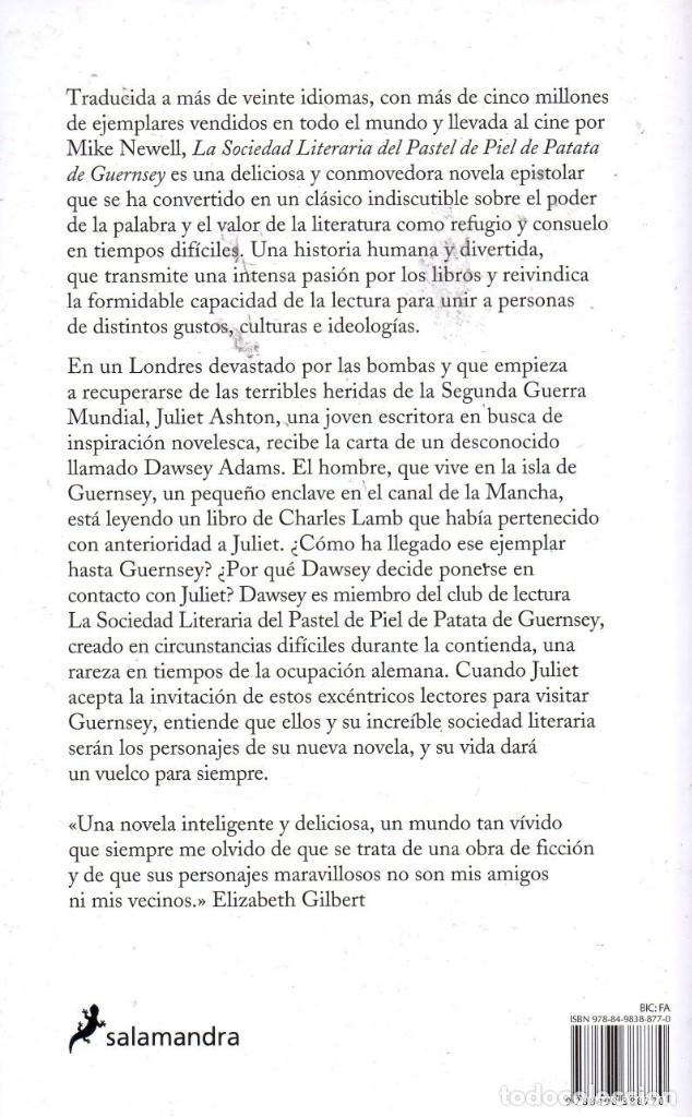 Libros: LA SOCIEDAD LITERARIA DEL PASTEL DE PIEL DE PATATA DE GUERNSEY - SALAMANDRA, 2018 (NUEVO) - Foto 2 - 222501198