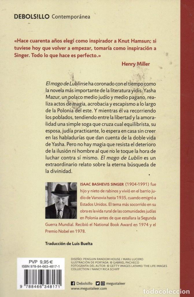 Libros: EL MAGO DE LUBLIN de ISAAC BASHEVIS SINGER - PENGUIN RANDOM HOUSE, DEBOLSILLO, 2018 (NUEVO) - Foto 2 - 222501407