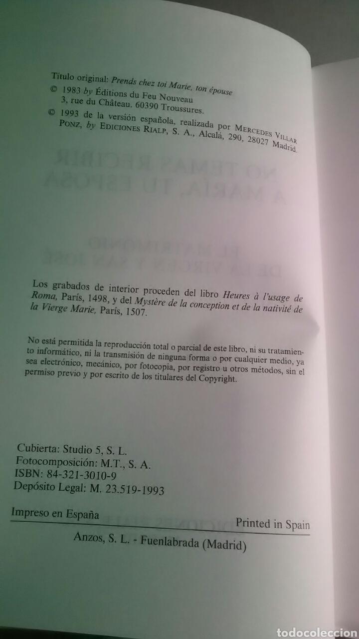 Libros: No temas recibir a María, tu esposa. Ediciones Rialp. 1993 - Foto 4 - 226141483