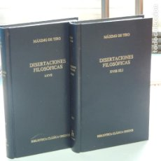 Libros: MÁXIMO DE TIRO.-DISERTACIONES FILOSÓFICAS.( 2VOL. I-XVII. XVIII-XLI). Lote 233979870