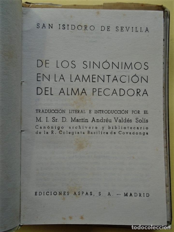 Libros: DE LOS SINÓNIMOS en la Lamentación del Alma Pecadora. Trad. literal e introducción por Martín Andréu - Foto 2 - 234917390