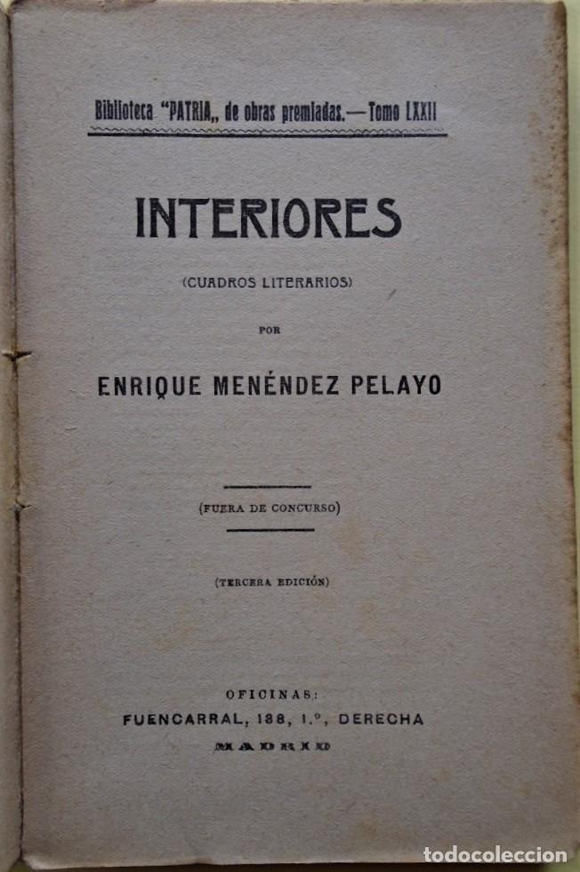 Libros: Interiores (Cuadros literarios). - Menéndez Pelayo, Enrique. - Foto 2 - 234929240