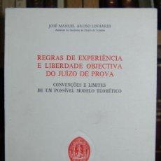 Libros: REGRAS DE EXPERIENCIA E LIBERDADE OBJECTIVA DO JUIZO DE PROVA. CONVENÇÕES E LIMITES DE UM POSSÍVEL M. Lote 246471140