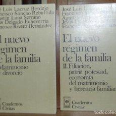 Libros: EL NUEVO REGIMEN DE LA FAMILIA. I: MATRIMONIO Y DIVORCIO. II: FILIACIÓN, PATRIA POTESTAD, ECONOMÍA D. Lote 246471145