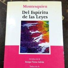 Libros: DEL ESPIRITU DE LAS LEYES. MONTESQUIEU. Lote 251717105
