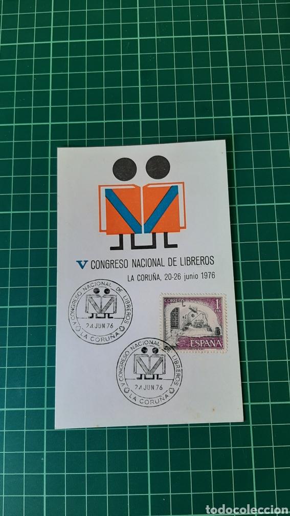 1976 LA CORUÑA GALICIA MATASELLO TARJETA MÁXIMA V CONGRESO LIBREROS COLISEVM LIBRERIA LUGO (Libros sin clasificar)