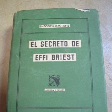 Libros: EL SECRETO DE EFI BRIEST. THEODOR FONTANE. 1ª EDICION 1943 DESTINO. Lote 254686700