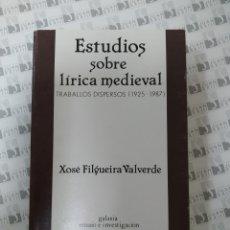 Libros: ESTUDIOS SOBRE LÍRICA MEDIEVAL.. Lote 257479750