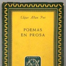 Libros: POEMAS EN PROSA - EDGAR ALLAN POE. Lote 267777984