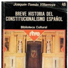 Libros: BREVE HISTORIA DEL CONSTITUCIONALISMO ESPAÑOL - JOAQUÍN TOMÁS VILLARROYA. Lote 268315374