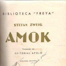 Libros: AMOK - ZWEIG, STEFAN. Lote 269064788