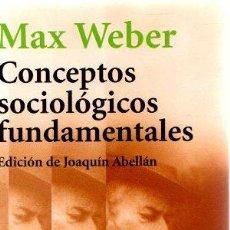 Libros: CONCEPTOS SOCIOLÓGICOS FUNDAMENTALES - WEBER, MAX. Lote 269064843