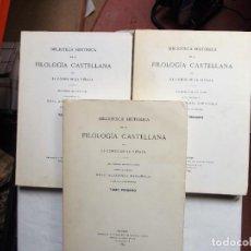 Libros: BIBLIOTECA HISTORICA DE LA FILOLOGIA CASTELLANA POR EL CONDE DE VIÑAZA 3 TOMOS. Lote 269459573