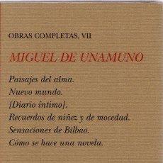 Libros: OBRAS COMPLETAS, VII - UNAMUNO, MIGUEL DE. Lote 269783903