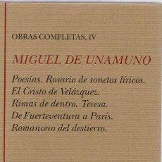 Libros: OBRAS COMPLETAS, IV - UNAMUNO, MIGUEL DE. Lote 269783928