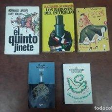Libros: LOTE 5 LIBROS EL QUINTO JINETE ANTOLOGIA LA CODORNIZ LA CONSTITUCION ESPAÑOLA LOS BARONES PETROLEO. Lote 277091028