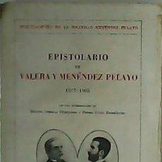 Libros: EPISTOLARIO DE VALERA Y MENÉNDEZ PELAYO. 1877-1905. INTRODUCCION DE MIGUEL ARTIGAS FERRANDO Y PEDRO. Lote 278209028