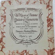 Libros: LIBRO UN MUSEO DE PINTURAS EN EL PALACIO DE BUENAVISTA. MADRID. 1942.. Lote 278346138