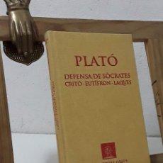 Libros: PLATÓ. DEFENSA DE SÒCRATES. CRITÓ. EUTÍFRON. LAQUES (FACSÍMIL) - PLATÓ. Lote 279458608