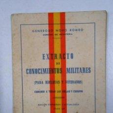 Libros: EXTRACTO DE CONOCIMIENTOS MILITARES (PARA RECLUTAS Y VETERANOS) 1968-69. - GENEROSO NOVO ROMEO. T. Lote 288734113
