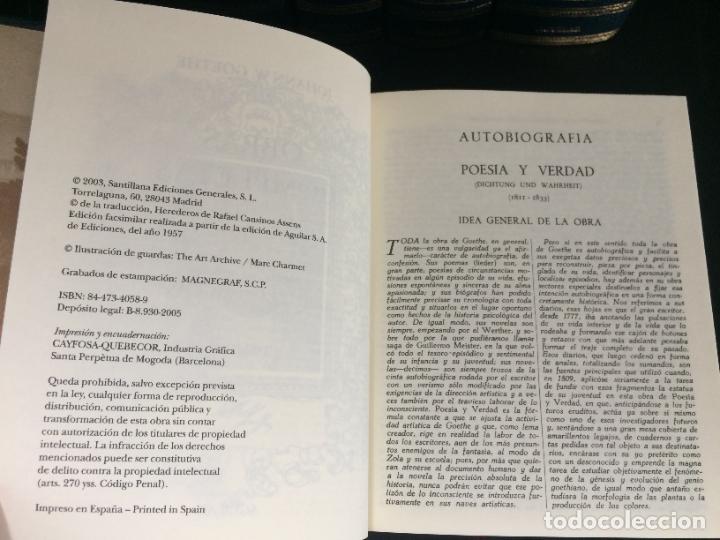 Libros: GOETHE. OBRAS COMPLETAS. TOMO DEL I AL V. AGUILAR. - Foto 3 - 288969383