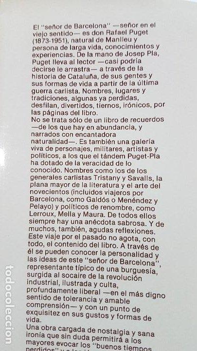 Libros: JOSEP PLA - UN SEÑOR DE BARCELONA - Tapa dura - Foto 4 - 289764843