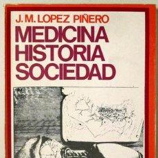 Libros: LÓPEZ PIÑERO, J.M. - MEDICINA HISTORIA SOCIEDAD - BARCELONA 1969. Lote 294383168