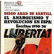 Libros: EL ANARQUISMO Y LA REVOLUCIÓN EN ESPAÑA. ESCRITOS 1930-1938. SELECCIÓN Y ESTUDIO PRELIMINAR DE ANTON. Lote 295490038