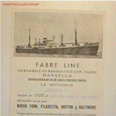 Líneas de navegación: TARJETA POSTAL DE LA COMPAÑÍA FABRE LINE CON ITINERARIO Y DESTINO AÑO 1953. Lote 9000418