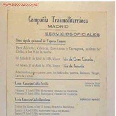 Líneas de navegación: ITINERARIO DE LA COMPAÑÍA TRASMEDITERRANEA EN EL MES DE ABRIL DEL 1936. Lote 9000412