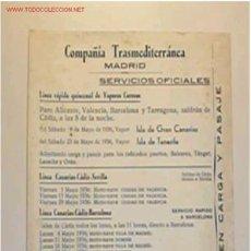Líneas de navegación: ITINERARIO DE LA COMPAÑÍA TRASMEDITERRANEA EN EL MES DE MAYO DEL 1936. Lote 9000497