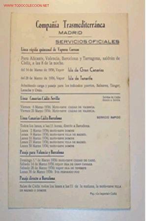 ITINERARIO DE LA COMPAÑÍA TRASMEDITERRANEA EN EL MES DE MARZO DEL 1936 (Coleccionismo - Líneas de Navegación)