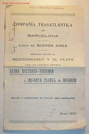 PRECIOS Y CONDICIONES DE LA COMPAÑÍA TRASATLANTICA DE BARCELONA,ENERO DE 1927 (Coleccionismo - Líneas de Navegación)