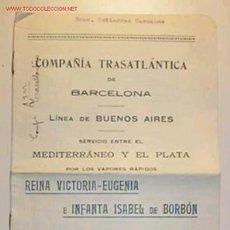 Líneas de navegación: PRECIOS Y CONDICIONES DE LA COMPAÑÍA TRASATLANTICA DE BARCELONA,ENERO DE 1927. Lote 8843392